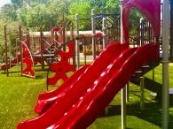 Parque instalado por Playtime Panama en Chitre modelo Ramp up de Playworld