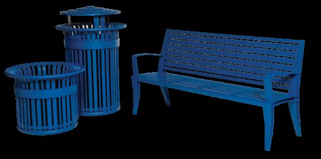 bancas modernas y basureros modernos de acero con tapas
